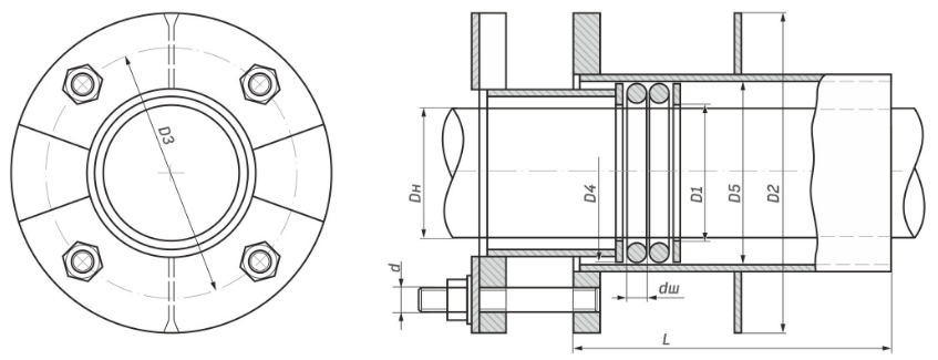 Схема нажимного сальника серия 5.905-26.08